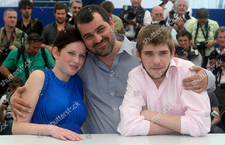 "Stock Photo of Kitty Csikos, Kornel Mundruczo, Rudolf Frecska Actress Kitty Csikos, left, director Kornel Mundruczo, center, and actor Rudolf Frecska, right, pose during a photo call for ""Tender Son - The Frankenstein Project"", at the 63rd international film festival, in Cannes, southern France"