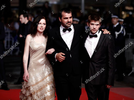 "Stock Image of Kitty Csikos, Kornel Mundruczo, Rudolf Frecska From left, actress Kitty Csikos, director Kornel Mundruczo and actor Rudolf Frecska arrive for the screening of the film ""Tender Son - The Frankenstein Project"", at the 63rd international film festival, in Cannes, southern France"