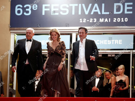 "Nikita Mikhalkov, Nadezhda Mikhalkova, Oleg Menshikov From left, director Nikita Mikhalkov, actress Nadezhda Mikhalkova and actor Oleg Menshikov exit the screening of the film ""The Exodus - Burnt By The Sun 2"", at the 63rd international film festival, in Cannes, southern France"