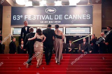 "Rudolf Frecska, Kitty Csikos, Kornel Mundruczo From left, actor Rudolf Frecska, actress Kitty Csikos, director Kornel Mundruczo and an unidentified guest arrive for the screening of the film ""Tender Son - The Frankenstein Project"", at the 63rd international film festival, in Cannes, southern France"