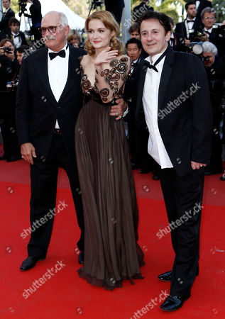 "Nadezhda Mikhalkova, Nikita Mikhalkov, Oleg Menshikov From left, actress Nadezhda Mikhalkova, director Nikita Mikhalkov and actor Oleg Menshikov arrive for the screening of the film ""The Exodus - Burnt By The Sun 2"", at the 63rd international film festival, in Cannes, southern France"