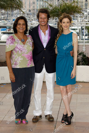 """Actress Ana Maria Magalhaes, left, actor Ricardo Trepa, center, and actress Pilar Lopez de Ayala, right, pose during a photo call for """"The Strange Case of Angelica"""", at the 63rd international film festival, in Cannes, southern France"""