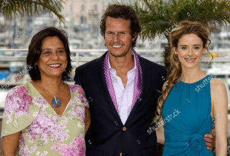 """Ricardo Trepa, Pilar Lopez de Ayala, Ana Maria Magalhaes Actress Ana Maria Magalhaes, left, actor Ricardo Trepa, center, and actress Pilar Lopez de Ayala, right, pose during a photo call for """"The Strange Case of Angelica"""", at the 63rd international film festival, in Cannes, southern France"""