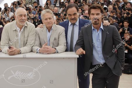 "Frank Langella, Michael Douglas, Oliver Stone, Josh Brolin From left, actors Frank Langella and Michael Douglas, director Oliver Stone and actor Josh Brolin pose during a photo call for ""Wall Street: Money Never Sleeps"", at the 63rd international film festival, in Cannes, southern France"