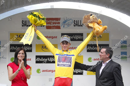 Janez Brajkovic Janez Brajkovic, of Slovenia, celebrates on the podium after winning the 62nd Dauphine Libere cycling race, after the last stage between Allevard-les-Bains and Sallanches, French Alps