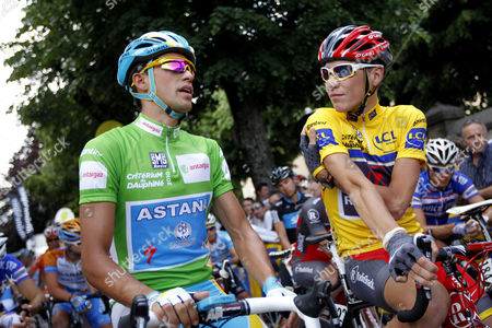 Alberto Contador, Janez Brajkovic Astana's Alberto Contador of Spain, left with green jersey, chats with Janez Brajkovic of Slovenia, right with yellow jersey, before the start of the last stage of the 62nd Dauphine Libere cycling race between Allevard-les-Bains and Sallanches, French Alps