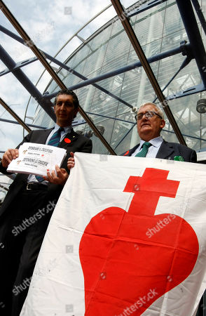 Mario Borghezio, Max Bastoni European Parliament members Mario Borghezio from the Italian Northern league, right, and Max Bastoni demonstrate outside the European Court for Human Rights in Strasbourg, eastern France, . Seven months after the European Court of Human Rights said crucifixes in Italian public schools violate religious and education freedoms, the tribunal hears an appeal launched by 10 European countries