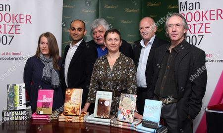 Nicola Barker, author of 'Darkmans', Moshin Hamid, author of 'The Reluctant Fundamentalist', Andra Sinha, author of 'Animal's People', Anne  Enright, author of 'The Gathering', Lloyd Jones, author of 'Mister Pip' and Ian McEwan, author of 'On Chesil Beach'