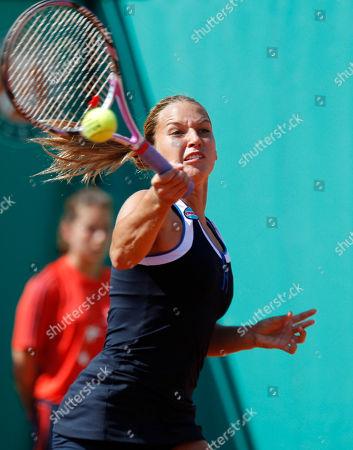Dominika Cibulkova Slovakia's Dominika Cibulkova returns the ball to Russia's Ekaterina Ivanova during their first round match of the French Open tennis tournament at the Roland Garros stadium in Paris