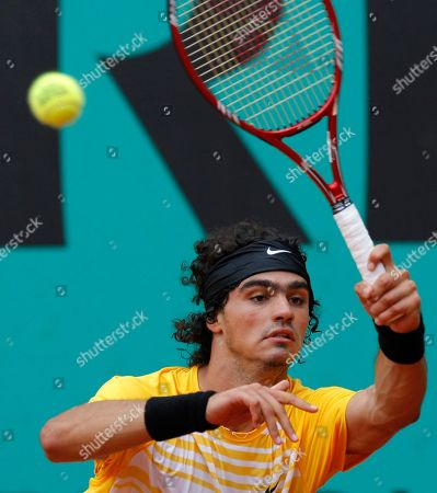 Andrea Collarini USA's Andrea Collarini returns the ball to Argentina's Agustin Velotti during a boy's finals match for the French Open tennis tournament at the Roland Garros stadium in Paris