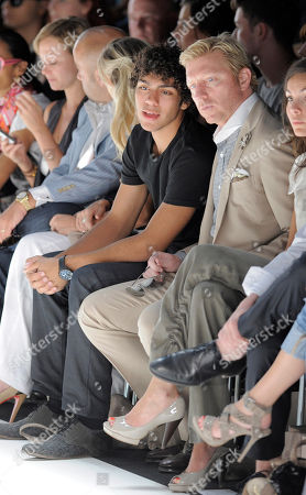 Stock Picture of German former tennis player Boris Becker, second from right, and his son Noah Gabriel Becker, third from right, attend Spring/Summer 2011 fashion show of the fashion label 'Laurel' at the Berlin Fashion Week on