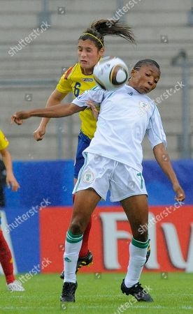 Daniela Montoya, Esther Sunday Esther Sunday of Nigeria, right, challenges for the ball against Daniela Montoya of Colombia, left, during the semifinal soccer match Colombia vs Nigeria during the FIFA Womens soccer under-20 World Cup in Bielefeld, Germany, on