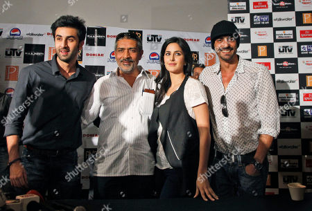 "Bollywood actors Katrina Kaif, second right, Arjun Rampal, right, Ranbir Kapoor, left, and Director Prakash Jha pose after a press conference to promote their new film ""Rajneeti"" or Politics, in New Delhi, India, . The film is scheduled to be released on June 4"