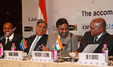 Jacob Zuma, Anand Sharma, Ratan Tata, Patrice Motsepe From right: South African President Jacob Zuma, Indian Commerce and Industry Minister Anand Sharma, Tata Group Chairman Ratan Tata and Chairman of African Rainbow Minerals Limited Patrice Motsepe, during a meeting of business leaders in Mumbai, India, . Zuma is on an official visit to India
