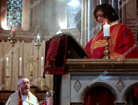 Maria Vittoria Longhitano reads the Gospel, during the mass at the All Saints Church, in Rome, where she was ordained as the first female priest, of the Italian Old Catholic Church. The Old Catholic Church split from the Holy See in the 1870's over a disagreement with the First Vatican Council promulgating the doctrine of papal infallibility in 1871