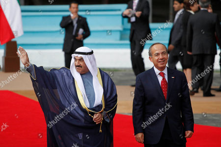 Felipe Calderon, Nasser Al-Mohammed Al-Ahmed Al-Jaber Al-Sabah Mexico's President Felipe Calderon, right, walks with Kuwait's Prime Minister Nasser Al-Mohammed Al-Ahmed Al-Jaber Al-Sabah during a welcoming ceremony at Los Pinos presidential residence in Mexico City, . Al-Sabah is on a two-day official visit to Mexico