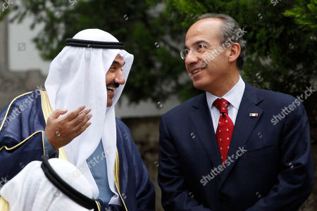 Felipe Calderon, Nasser Al-Mohammed Al-Ahmed Al-Jaber Al-Sabah Mexico's President Felipe Calderon, right, speaks with Kuwait's Prime Minister Nasser Al-Mohammed Al-Ahmed Al-Jaber Al-Sabah during a welcoming ceremony at Los Pinos presidential residence in Mexico City, . Al-Sabah is on a two-day official visit to Mexico
