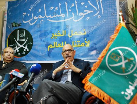 Former U.N. nuclear chief and Egyptian diplomat Mohammed ElBaradei, right, speaks during a press conference with Saad al-Katatni, the parliamentary leader of Egypt's largest opposition bloc, the Muslim Brotherhood, after their meeting in Cairo