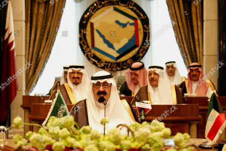 Saudi King Abdullah bin Abd al-Aziz, in front row, attends the Gulf Cooperation Council (GCC) summit in Riyadh, Saudi Arabia, . In back row from centre to right :- Riyadh Governor Prince Salman bin Abdul Aziz al-Saud, Saudi Foreign Minister Prince Saud al-Faisal, and Saudi Intelligence chief Prince Muqrin Bin Abbdul Aziz al-Saud. In middle row from left:- Saudi Crown Prince Sultan bin Abdul Aziz al-Saud and Saudi Interior Minister Prince Nayef bin Abdul Aziz al-Saud