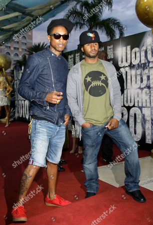Pharell Williams, Shay Haley Singer Pharell Williams, left, and singer Shay Haley, right, arrive for the World Music Awards, in Monaco