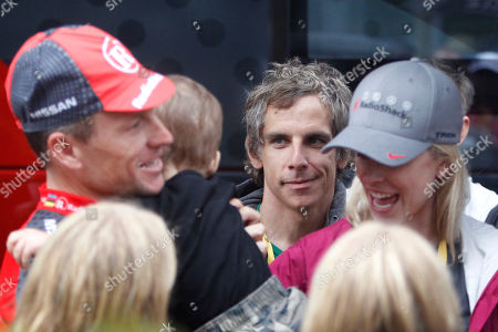 Lance Armstrong, Anna Hansen, Ben Stiller US actor Ben Stiller, center, seven-time Tour de France winner Lance Armstrong of the US, left, and his girlfriend Anna Hansen, right, react prior to the prologue of the Tour de France cycling race, an individual time trial over 8,9 kilometers (5.5 miles) in the port city of Rotterdam, Netherlands