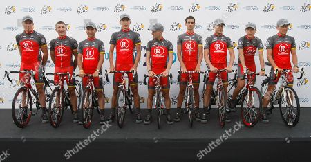 Lance Armstrong The Radioshack cycling team with Gregory Rast of Germany, Yaroslav Popovych of the Ukraine, Sergio Paulinho of Portugal, Dmitriy Muravyev of Kazakhstan, Levi Leipheimer of the US, Andreas Kloden of Germany, Christopher Horner of the US, Janez Brajkovic of Slovakia, and Lance Armstrong of the US, from left to right, poses during the official presentation of the Tour de France cycling teams in Rotterdam, Netherlands, . The race starts on Saturday July 3, 2010, with an individual time trial over 8,9 kilometers (5.5 miles) in Rotterdam