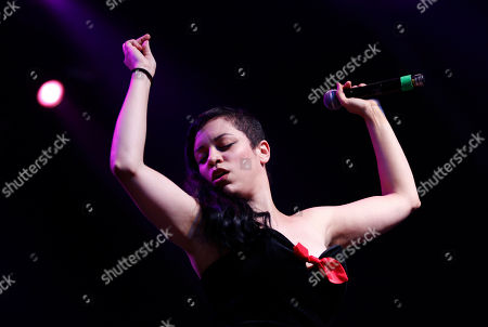 Tahita Bulmer, of English band New Young Pony Club, performs during their concert, at the Optimus Alive music festival in Lisbon, Portugal