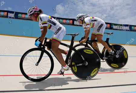 Juliana Gaviria, Diana Garcia Colombia's Juliana Gaviria, left, and Diana Garcia compete against Venezuela in the women's team sprint final of the cycling track competition of the Central American and Caribbean Games Mayaguez 2010 in Aguadilla, Puerto Rico, . Gaviria and Garcia won the silver medal in the event