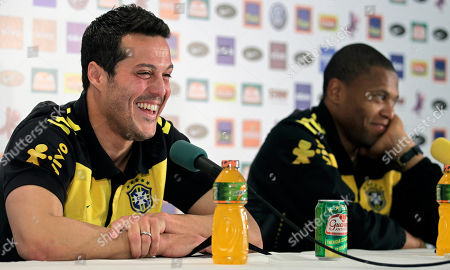 Julio Cesar, Julio Baptista Brazil's soccer goalkeeper Julio Cesar, left, and Julio Baptista, during a press conference, in Johannesburg, South Africa, . Brazil will face Ivory Coast on June 20 in the group G for the soccer World Cup