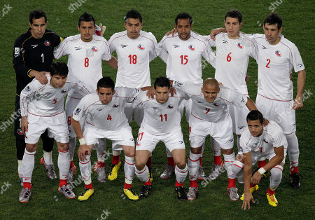 Members of Chile team pose for pictures prior to the World Cup round of 16 soccer match between Brazil and Chile at Ellis Park Stadium in Johannesburg, South Africa, . Top row, from left, goalkeeper Claudio Bravo, Arturo Vidal, Gonzalo Jara, Jean Beausejour, Carlos Carmona and Ismael Fuentes. Bottom row, from left, Pablo Contreras, Mauricio Isla, Mark Gonzalez, Humberto Suazo and Alexis Sánchez