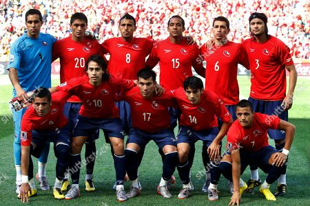 The Chilean team poses prior to the World Cup group H soccer match between Honduras and Chile at Mbombela Stadium in Nelspruit, South Africa, . Front row, from left, Mauricio Isla, Jorge Valdivia, Gary Medel, Matias Fernandez and Jorge Valdivia. back row, standing, from left, goalkeeper Claudio Bravo, Rodrigo Millar, Arturo Vidal, Jean Beausejour, Carlos Carmona and Waldo Ponce