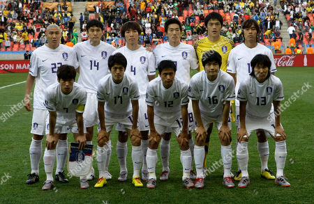 South Korea players pose for a team photo prior to the World Cup round of 16 soccer match between Uruguay and South Korea at Nelson Mandela Bay Stadium in Port Elizabeth, South Africa, . Back row from left: Cha Du-ri, Lee Jung-soo, Cho Yong-hyung, Kim Jung-woo, goalkeeper Jung Sung-ryong, and Park Chu-young. Front row from left: Park Ji-sung, Lee Chung-yong, Lee Young-pyo, Ki Sung-yong and Kim Jae-sung