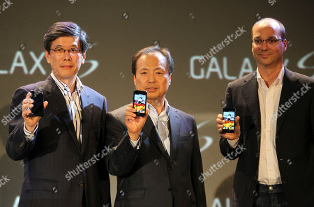 Ha Sung-min, Shin Jong-kyun, Andy Rubin Head of SK Telecom mobile Ha Sung-min, left, head of Samsung's mobile division Shin Jong-kyun, center, and Google Vice President of Engineering Andy Rubin launch the new Samsung Galaxy phone running Google's new operating system Android at the Samsung headquarters in Seoul, South Korea