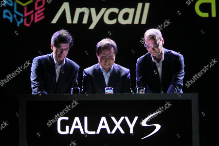 Ha Sung-min, Shin Jong-kyun, Andy Rubin Head of SK Telecom mobile Ha Sung-min, left, head of Samsung's mobile division Shin Jong-kyun, center, and Google Vice President of Engineering Andy Rubin prepare to launch the new Samsung Galaxy phone running Google's new operating system Android at the Samsung headquarters in Seoul, South Korea