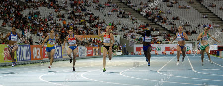 From left, France's Christine Arron, Ukraine's Olesya Povh, Russia's Anna Gurova, Germany's Verena Sailer, France's Myriam Soumare, Greece's Yeoryia Kokloni and Ireland's Ailis McSweeney compete in a Women's 100m semifinal during the European Athletics Championships, in Barcelona, Spain