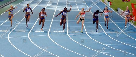 From right, Greece's Yeoryia Kokloni, Russia's Anna Gurova, France's Myriam Soumare, Germany's Verena Sailer, France's Veronique Mang, Norway's Ezinne Okparaebo, France's Christine Arron, Ukraine's Mariya Ryemyen compete in the Women's 100m final during the European Athletics Championships, in Barcelona, Spain