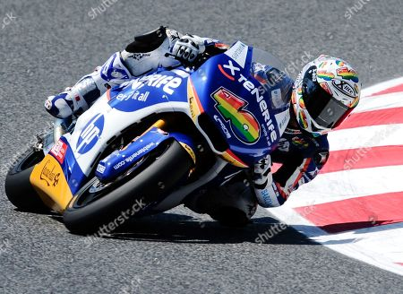 Sergio Gadea Sergio Gadea from Spain rides his Pons Kalex motorcycle during the free practice session of the Catalunya Grand Prix at the racetrack of Montmelo, near Barcelona, Spain, . The Catalunya Grand Prix will take place next Sunday in Montmelo