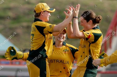 Rene Farrell, Jessica Cameron, Alyssa Healy Australia's bowler Rene Farrell, right, high fives teammate Jessica Cameron, as wicketkeeper Alyssa Healy looks, after Cameron took the catch to dismiss India's opener Sulakshana Naik for two runs at a Twenty20 Cricket World Cup women semi final match in Gros Islet, St. Lucia