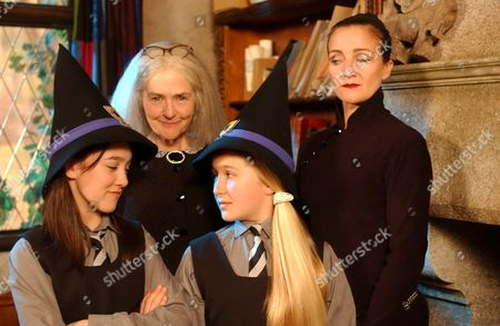 Stock Picture of 'The New Worst Witch' - Clare Coulter and Caroline O'Neill with Alice Cooper and Francesca Isherwood in the front.