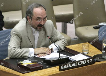 Iran's United Nations Ambassador Mohammad Khazaee speaks before the United Nations Security Council after it voted to impose sanctions on Iran
