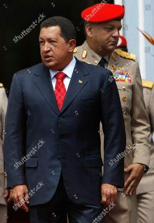 Hugo Chavez Venezuela's President Hugo Chavez looks on prior a welcoming ceremony for Abkhazia's President Sergei Bagapsh and South Ossetia's President Eduard Kokoity at Miraflores presidential palace in Caracas, Venezuela