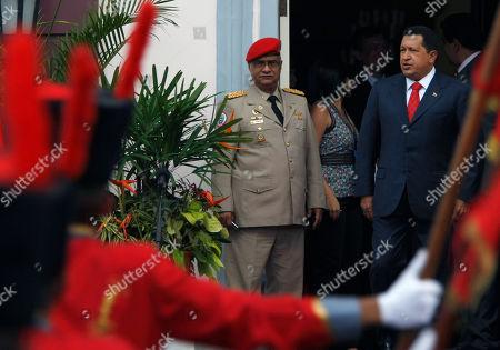 Hugo Chavez Venezuela's President Hugo Chavez, right, looks on prior a welcoming ceremony for Abkhazia's President Sergei Bagapsh and South Ossetia's President Eduard Kokoity at Miraflores presidential palace in Caracas, Venezuela