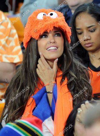 Yolanthe Cabau Van Kasbergen, girlfriend of Wesley Sneijder, looks on at the start of the World Cup final soccer match between the Netherlands and Spain at Soccer City in Johannesburg, South Africa, on