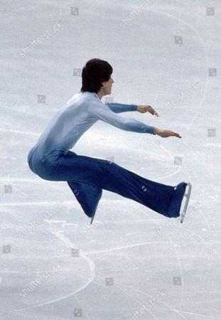 Norbert Schramm, 3rd placer from West Germany jumps in the men's event at the European Figure Skating Championships at Innsbruck, Austria in February 1981, here pictured during his performance at the exhibition show