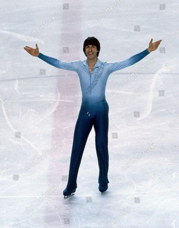 Norbert Schramm, 3rd placer from West Germany in the men's event at the European Figure Skating Championships at Innsbruck, Austria in February 1981, here pictured during his performance at the exhibition show