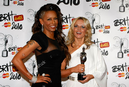 Geri Haliwell, Mel B Former Spice Girls Geri Haliwell, right, and Mel B with their Brit Award for Best British Performance over the last 30 years for Wannabe by the Spice Girls at the 2010 Brit Awards in London