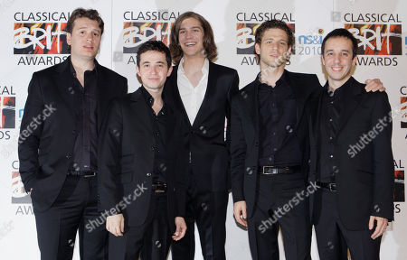 Amaury Vassili, Quatuor Ebene French classical singer Amaury Vassili, centre arrives with French violinists, Quatuor Ebene, for the 2010 Classical Brit Awards nomination launch held at a central London hotel