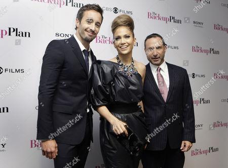 Jennifer Lopez, Alex O'Loughlin, Alan Poul U.S actor Jennifer Lopez, centre, Australian actor Alex O' Loughlin and US Director Alan Poul, attend the premiere of the movie 'The Back-Up Plan', in London