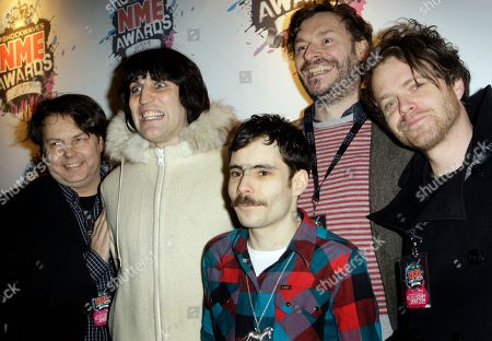Rich Fulcher, Noel Fielding, Mike Fielding, Julian Barratt, Dave Brown British comedy troupe The Mighty Boosh from left Rich Fulcher, Noel Fielding, Mike Fielding (foreground) Julian Barratt and Dave Brown arrive for the NME 2010 awards in south London