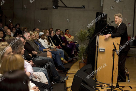 Stock Image of David Lynch  presents an evening of discussion and music on Transcendental Meditation to an audience including actress Alison Doody.